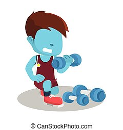 blue boy exercising with dumbell