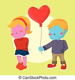 blue boy giving heart shaped balloon to pink girl