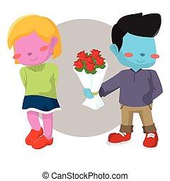 blue boy giving pink girl rose
