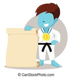 blue boy karate champ holding paper