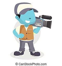 blue boy reporter cameraman