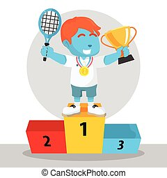 blue boy tennis player won the medal and trophy