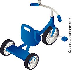 Blue boy tricycle icon, isometric style