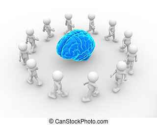Blue brain - 3d people- human character end blue brain. This...