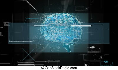 blue brain hologram with technology and dark background