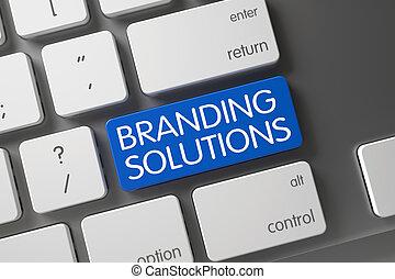 Blue Branding Solutions Key on Keyboard. 3D.