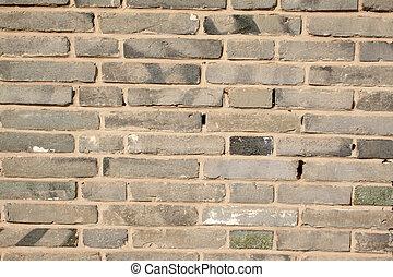 blue bricks wall, creative picture rural north china