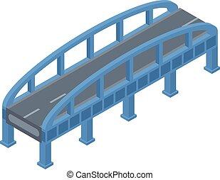 Blue bridge icon, isometric style