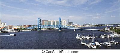 blue bridge spanning the Saint John's River
