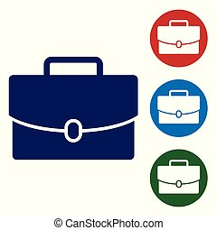 Blue Briefcase icon isolated on white background. Business case sign. Business portfolio. Vector Illustration