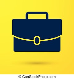 Blue Briefcase icon isolated on yellow background. Business case sign. Business portfolio. Vector Illustration