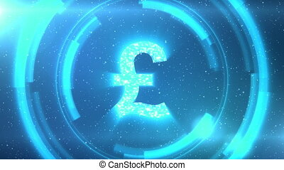 Blue British pound currency symbol on space background with circles. Seamless loop.