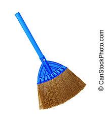 Blue broom on white background