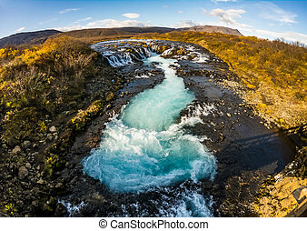 Blue Bruarfoss waterfalls in Iceland