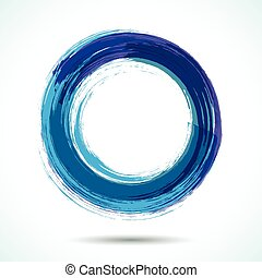Blue brush painted watercolor circle