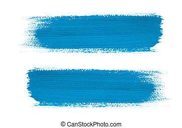 Blue brush stroke isolated on background
