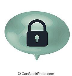 blue bubble padlock icon