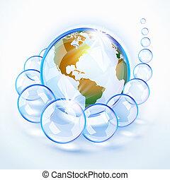 Blue bubbled Earth America