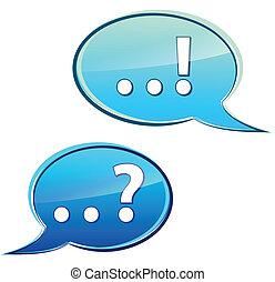 bubbles discussion - Blue bubbles discussion on white...