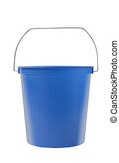 A blue plastic bucket on a white background