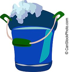 Blue bucket, illustration, vector on white background.