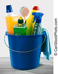 Blue bucket of detergent and chemical cleaner