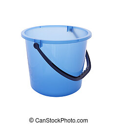 Blue bucket with opened on white background.
