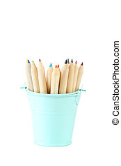 Blue bucket with pencils isolated on white