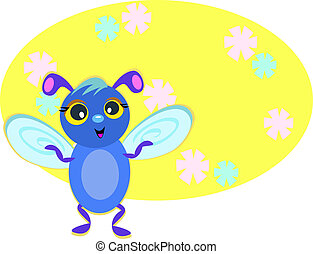 Blue Bug with Flower Background
