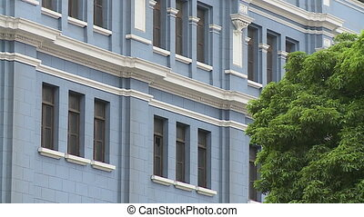 Blue Building with White Molding - Steady, exterior, medium...