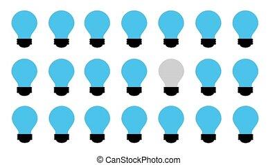 blue bulb light and yellow bulb