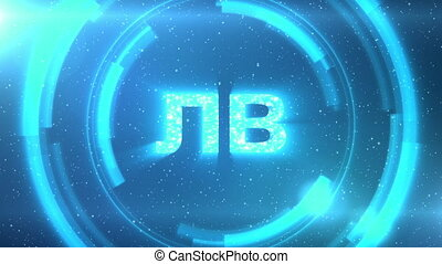 Blue Bulgarian currency symbol on space background with circles. Seamless loop.
