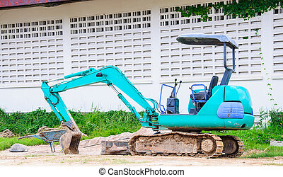 blue bulldozer