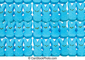 Blue bunny easter candy over a white background