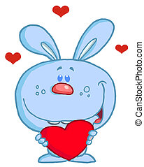 Blue Bunny Holding A Red Heart