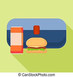Blue burger lunchbox icon, flat style