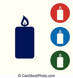 Blue Burning candle icon isolated on white background. Old fashioned lit candle. Cylindrical aromatic candle stick with burning flame. Set color icon in circle buttons. Vector Illustration