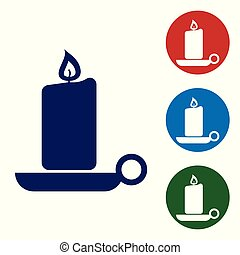 Blue Burning candle in candlestick icon on white background. Old fashioned lit candle. Cylindrical aromatic candle stick with burning flame. Set color icon in circle buttons. Vector Illustration