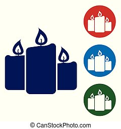 Blue Burning candles icon isolated on white background. Old fashioned lit candles. Cylindrical aromatic candle sticks with burning flames. Set color icon in circle buttons. Vector Illustration