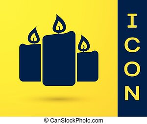 Blue Burning candles icon isolated on yellow background. Old fashioned lit candles. Cylindrical aromatic candle sticks with burning flames. Vector Illustration