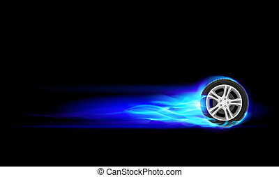 Burning wheel - Blue Burning wheel. Illustration on black ...
