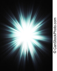 Blue Burst - Bright blue light burst, explosion on dark...