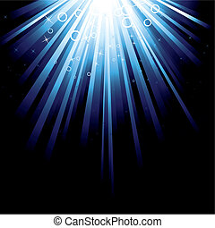 Detailed illustration with a blue burst with stars
