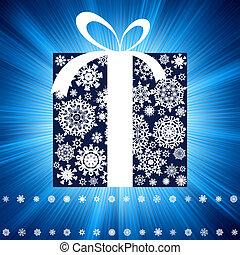 Blue burst with gift box. EPS 8