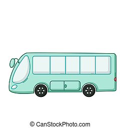 Blue bus icon, cartoon style
