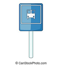 Blue bus stop sign icon, cartoon style - Blue bus stop sign...