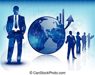 Blue business and technology background - Illustration of...