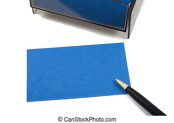 Blue Business (blank) card on White with pen. Empty card for adding text.
