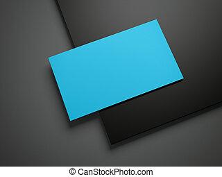 Blue business card on a black folder