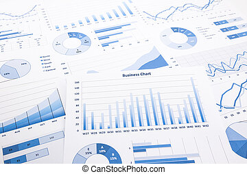 blue business charts, graphs, reports and paperwork for...